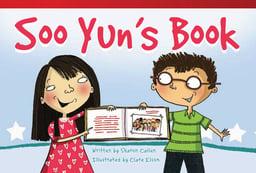 Cartoon girl and boy holding a book