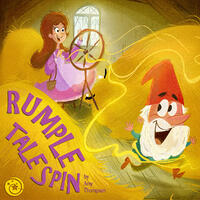 Cover Art: A white bearded man wearing a red pointed hat runs away from a woman wearing a purple dress sitting at a spinning wheel