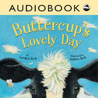 Cover art: The top of a black and white dairy cow against a blue sky with animal shaped clouds and a little bee flying near her right ear