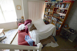 A white sheet draped over the back of a red couch and 2 chairs, with a bookcase in the background