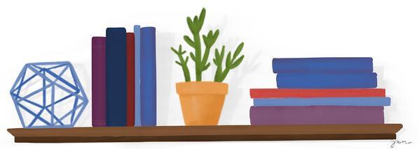 Blue sculpture, standing books, potted plant, and stack of books on a shelf