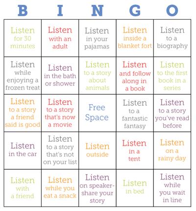 Tales2go Summer Bingo Board