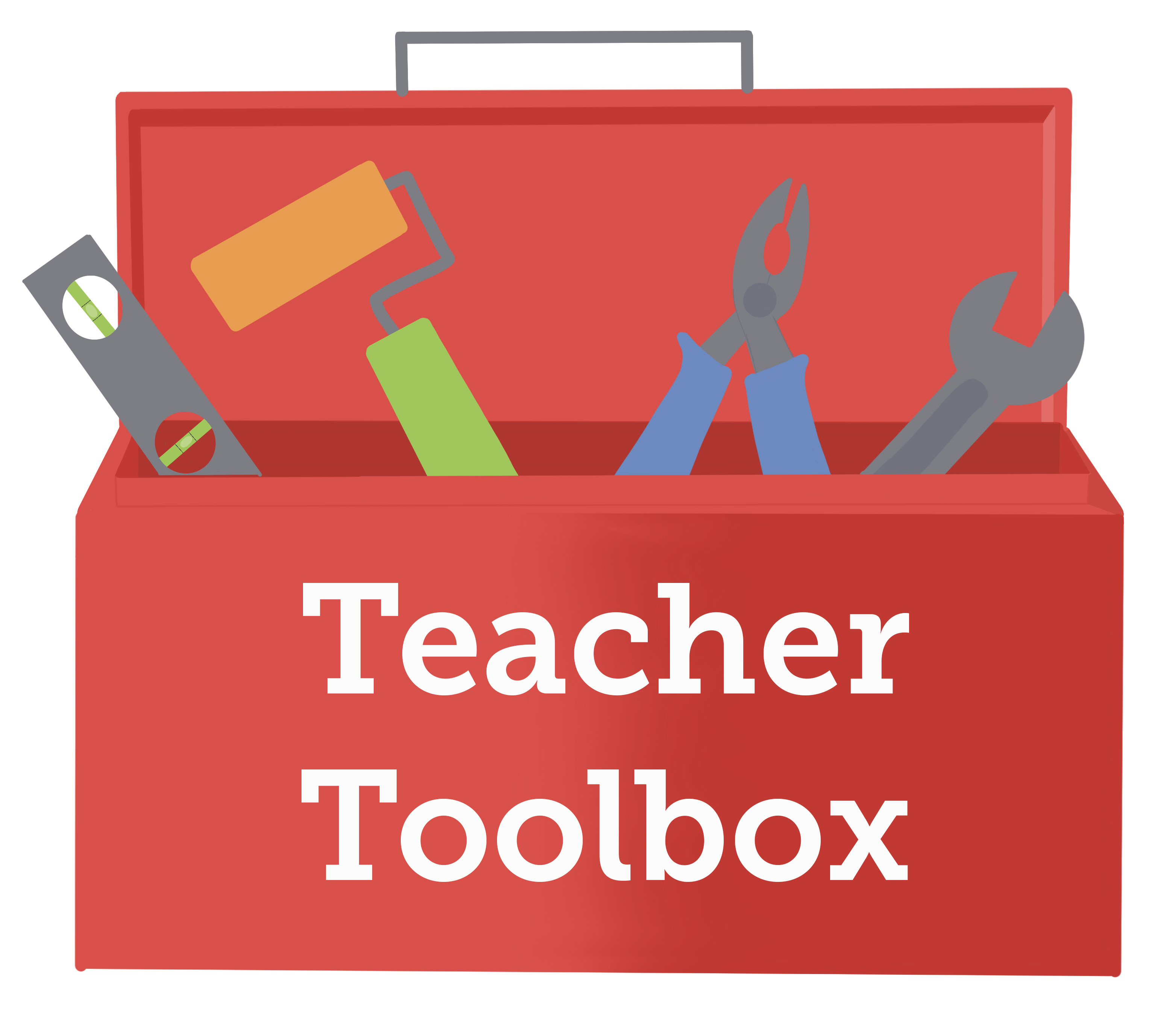 Red toolbox containing a level, paint roller, pliers, and a wrench