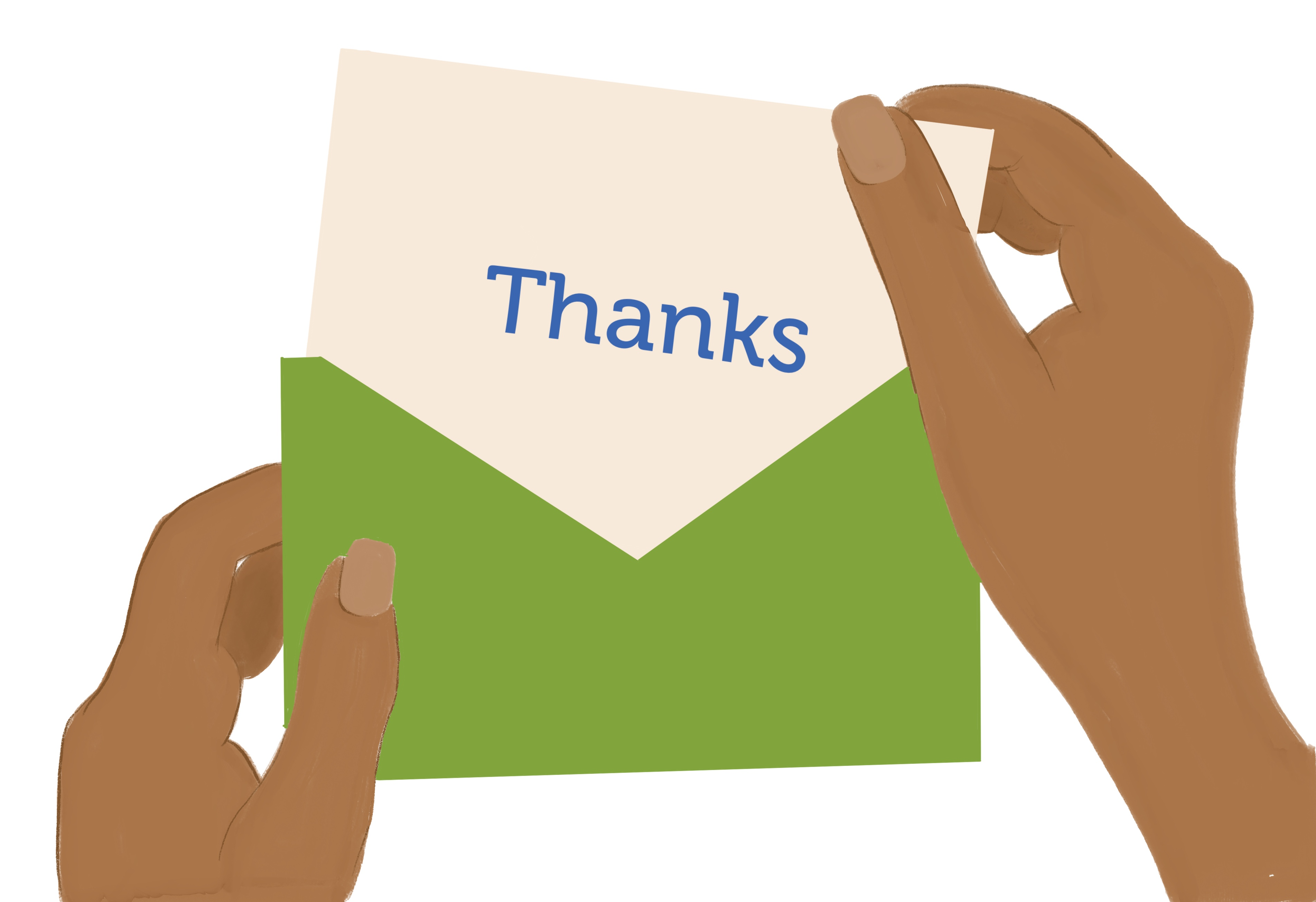"""A pair of hands taking a card that says """"Thanks"""" out of a green envelope"""
