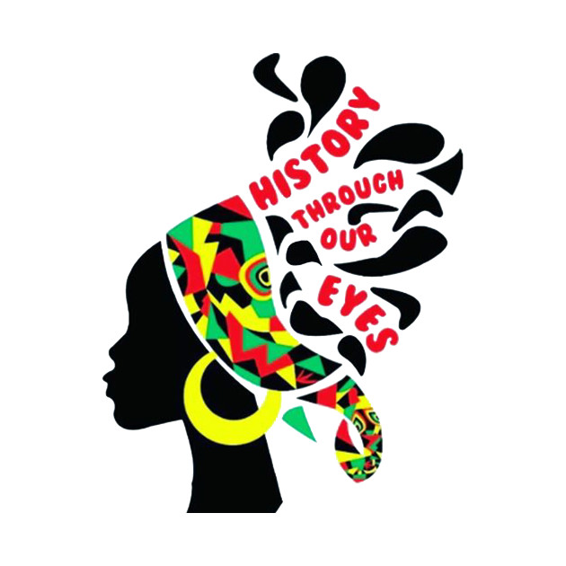 Stylized silhouette of woman with words in her hair