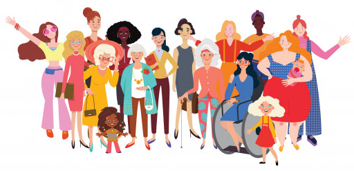 stylized drawing of a group of girls and women