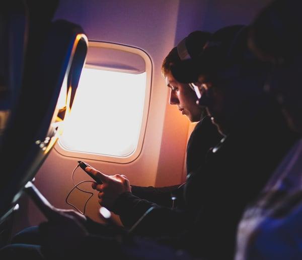 headphones on Plane smaller