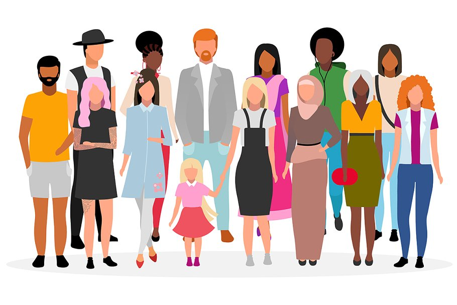 stylized image of multicultural group of people